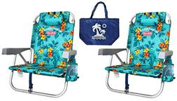 2 Tommy Bahama Backpack Beach Chairs/Turquoise + 1 Medium To