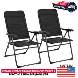 2 Pcs Patio Folding Chair Lounge Recliner Seat Camping Outdo