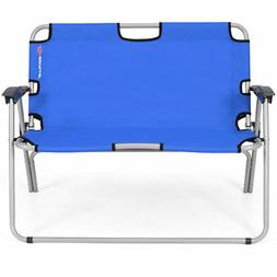 Outdoor 2 Person Folding Bench Portable Loveseat Chair Campi