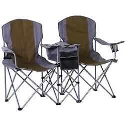 Outsunny 2-Person Folding Oxford Portable Camping Chair w/ C