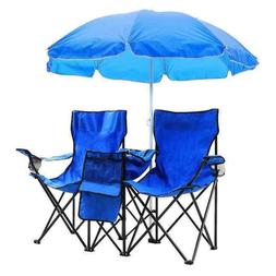 2-Seat Outdoor Camping Portable Folding Chair with Removable
