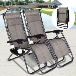 2 Zero Gravity Canopy Reclining Chairs Sun Beach Camping Fol