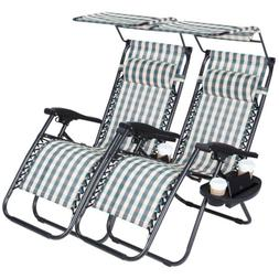 2 Zero Gravity Folding Lounge Beach Chairs With Canopy Holde
