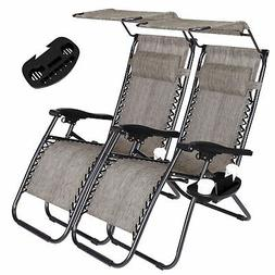 2 Zero Gravity Recline Chairs Folding Garden Camping Beach S