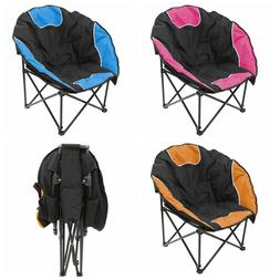 2pc Folding Padded Round Camping Hiking Event Beach Chair W/