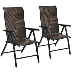 2PC Patio Rattan Folding Chair Recliner Back Adjustable Port
