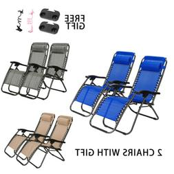 2x Zero Gravity Chairs Patio Beach Camping Folding Recliner