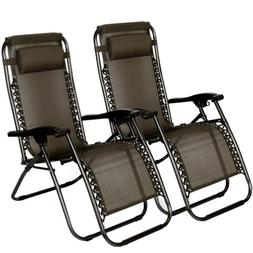 2 Zero Gravity Chairs Folding Portable Patio Beach Outdoor C