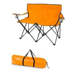 31.5 In Double Camp Chair Loveseat Style Steel Frame Orange