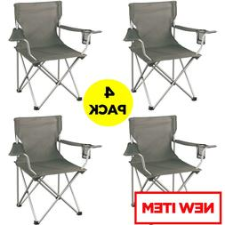 4 Folding Camping Chairs Portable Steel Frame Outdoor Cup Ho