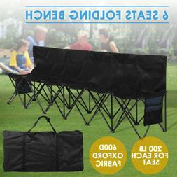 6 Seats Portable Folding Chair Sports Camping Outdoor Bench
