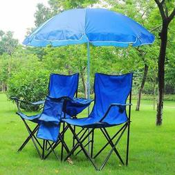 Yescom Double Folding Chair w Umbrella Table Cooler Fold Up