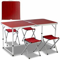 Aluminum Folding Camping Table with 4 Chairs Set Outdoor Pic