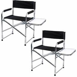 2PC Aluminum Folding Director's Chair with Side Table Campin
