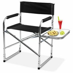 Aluminum Folding Director's Chair with Side Table Camping Tr