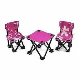 Armless Camping Floral Chairs and Table Set for 18 Inch Amer