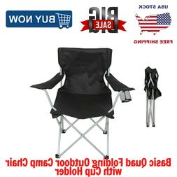 Ozark Trail Basic Quad Folding Outdoor Camp Chair with Cup H