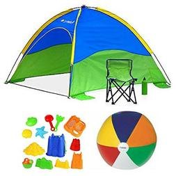 Kids Beach Cabana Set With Foldable Chair, Water Bottle and