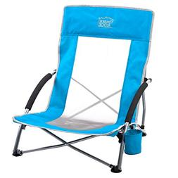 Timber Ridge Beach Chair Outdoor Portable with Carry Bag Low
