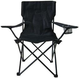 Black Steel Camping Chair Lightweight with Cup Holder Heavy