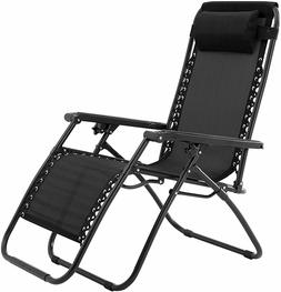 Black Zero Gravity Chair Outdoor Folding Recliner Lawn Patio