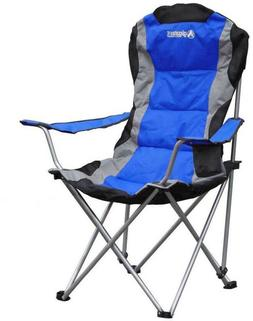 blue steel folding camping chair
