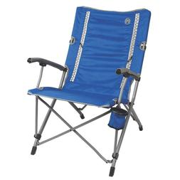 Blue Steel Frame Interlock Quad Camping Chair with Comfortab
