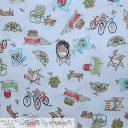 BonEful Fabric FQ Cotton Quilt White Blue Red American VTG A