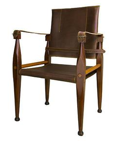 """British Campaign Folding Chair 36"""" Wooden Portable Furniture"""