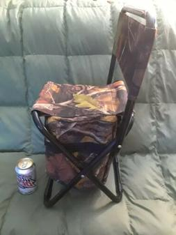 Camouflage Outdoor Folding Stool Cooler Bag w/Backrest-Beach