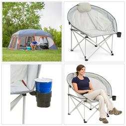 Camp Chair Collapsible Seat Portable Stool Cup Holder Oversi