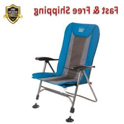 Camping Chair Folding Heavy Duty Blue Adjustable Reclining P