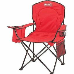 Camping Chair Over-Sized Quad Folding Chair Cooler Pouch Red