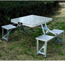 Camping Chair Table Set of 4-Seats Portable Compact Folding