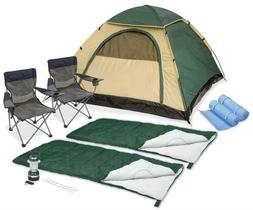 Camping Deluxe Bundle Tent With Chairs Sleeping Bags Pads 2