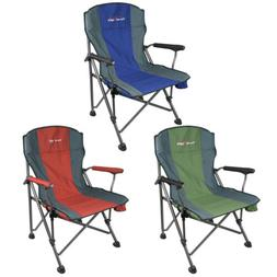 Camping Folding Heavy Duty Steel Chair Headrest Outdoor Port