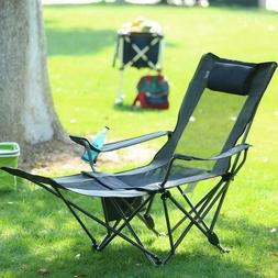 Camping Folding Portable Mesh Chair With Removabel Footrest
