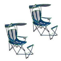 Kelsyus Original Canopy Camping Chair with Ottoman, Navy and