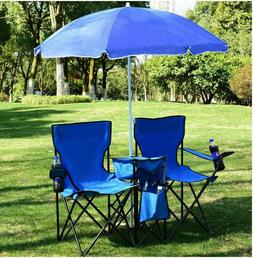 Chair Set Double Folding Umbrella Table with Cooler Picnic C