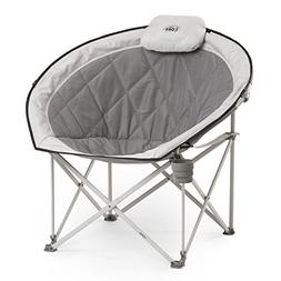 CORE Folding Oversized Padded Moon Round Saucer Chair with C