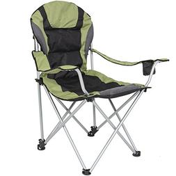 Deluxe Padded Reclining Camping Fishing Beach Chair With Por