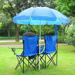 Double Camping Chair with Umbrella Cooler Removable Adjustab