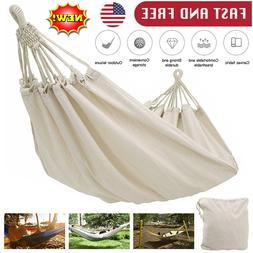 Double Camping Fabric Canvas Hammock Hanging Swing Bed Chair