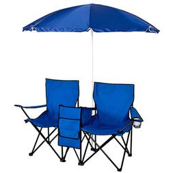 Double Portable Folding Picnic Chair W/Umbrella Table Cooler