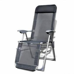 Foldable Adjustable Camping Chairs with Footrest Aluminum Se