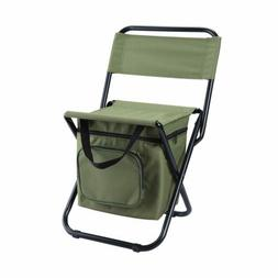 LEADALLWAY Foldable Camping Chair with Cooler Bag Compact Fi