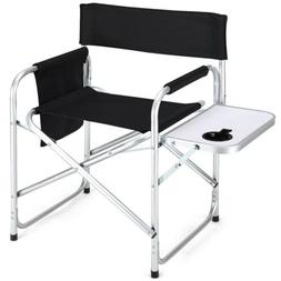Foldable Director's Side Table Camping Fishing Chair with Cu