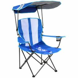 Foldable Oversized Camping Chair With Canopy Blue Outdoor Sp