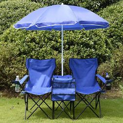 Foldable Patio Picnic Double Chair with Umbrella Table Beach