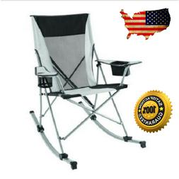 Foldable Tension Rocking Chair Built-In Cup Holder Camping O